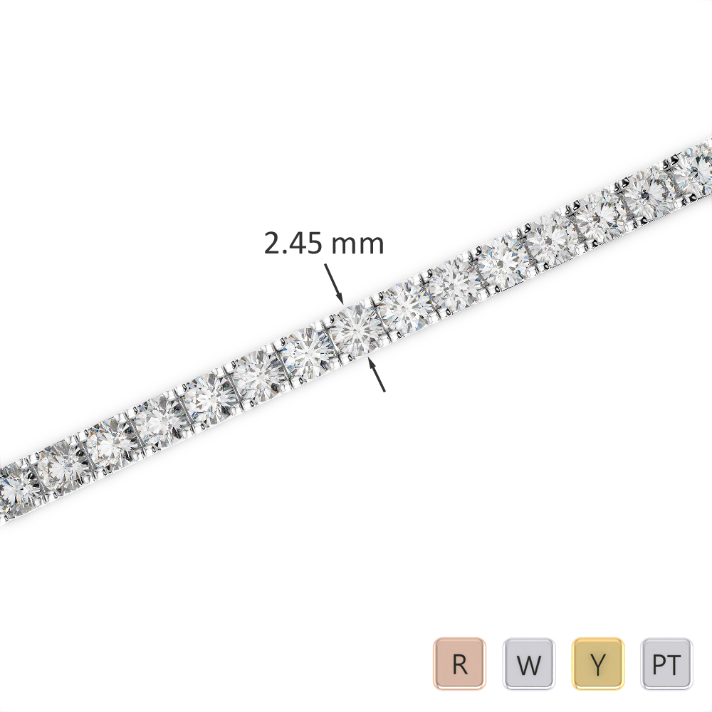 Gold / Platinum Round Cut Diamond Bracelet AGBRL-1016