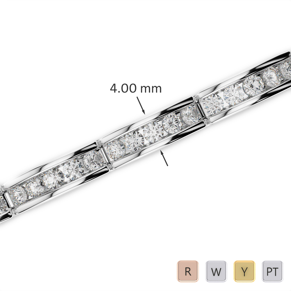 Gold / Platinum Round Cut Diamond Bracelet AGBRL-1023