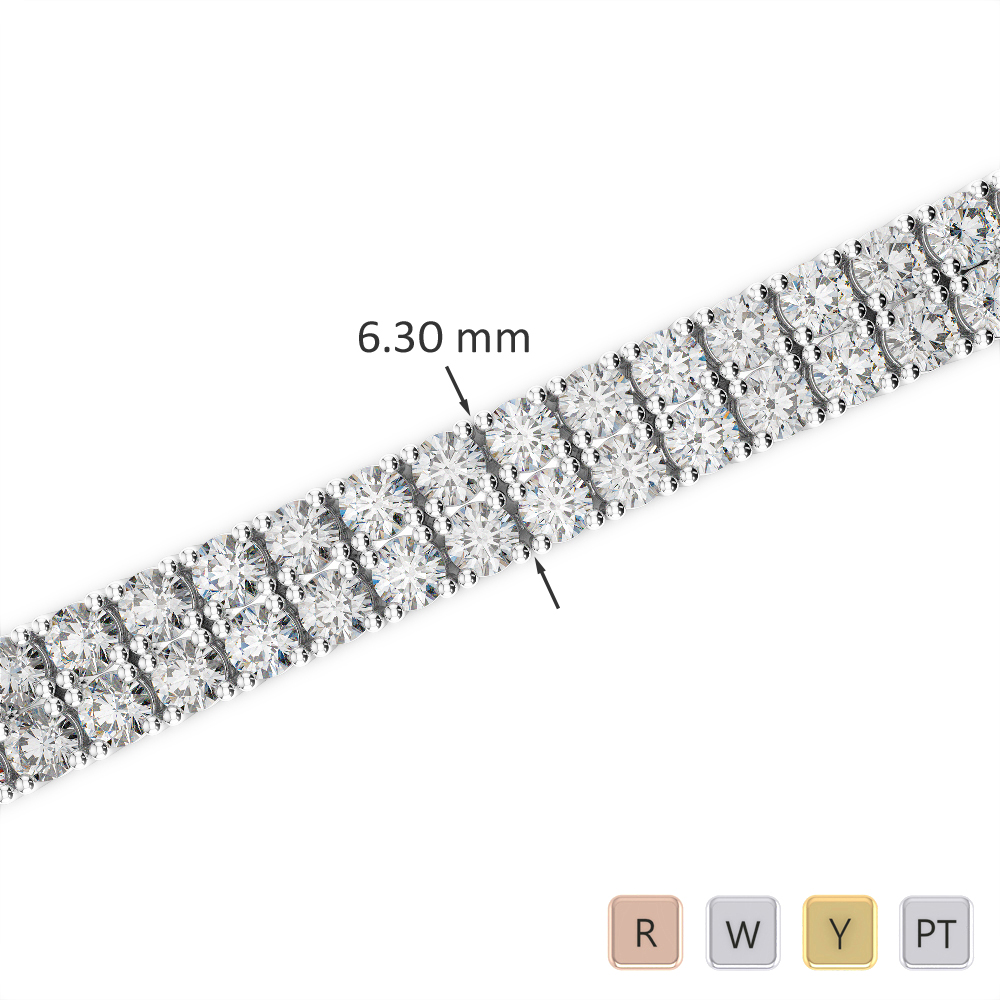 Gold / Platinum Round Cut Diamond Bracelet AGBRL-1037
