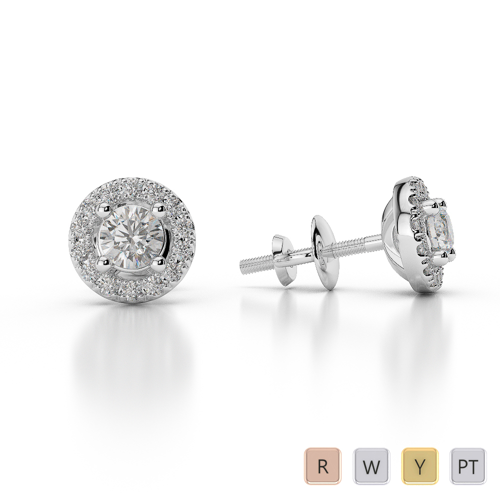 Gold / Platinum Diamond Halo Earrings AGDER-0255