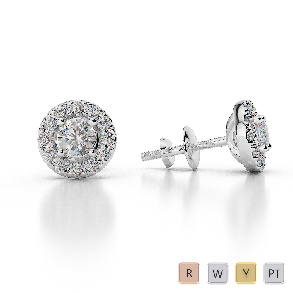 Gold / Platinum Diamond Halo Earrings AGDER-0760