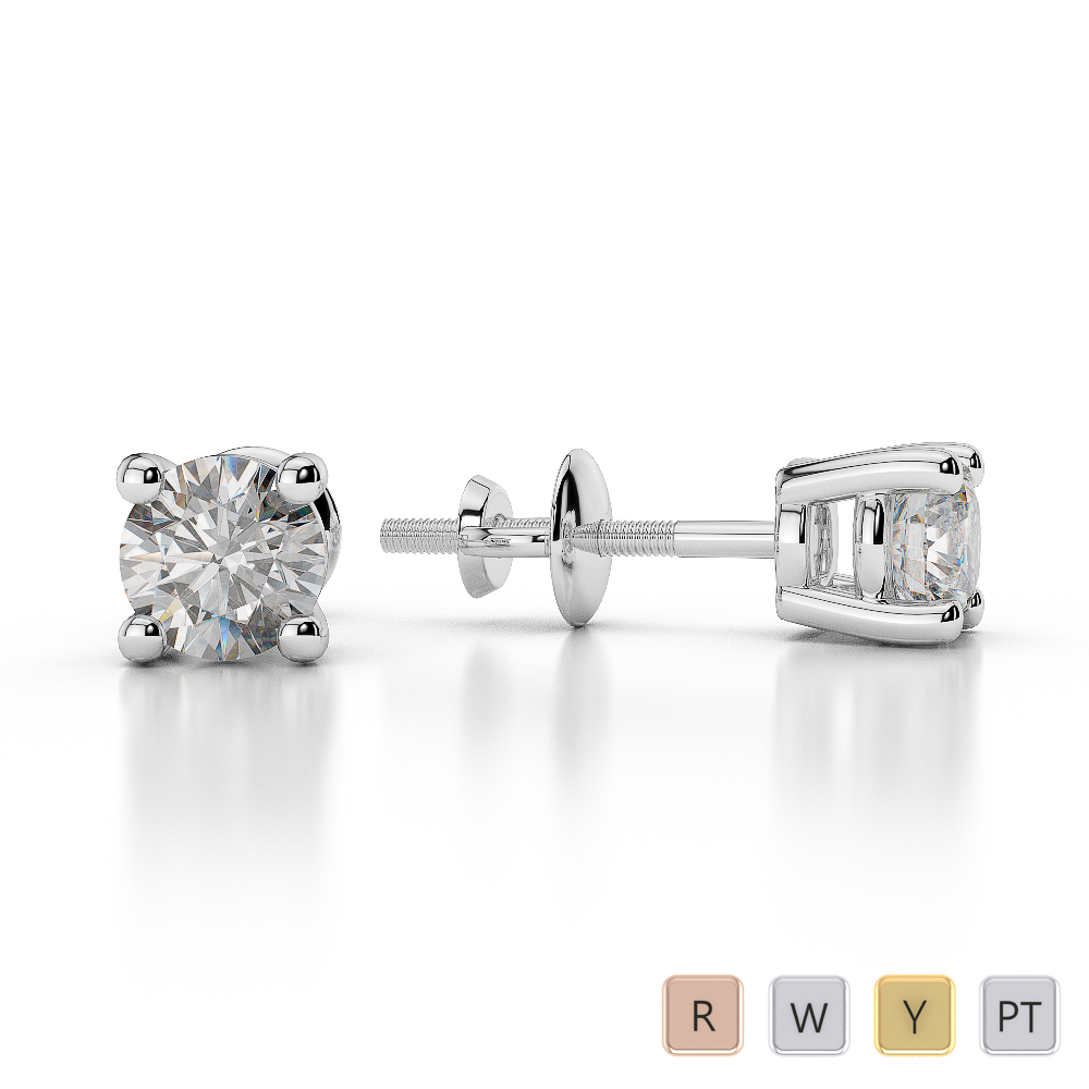Gold / Platinum Round Shape Diamond Stud Earrings AGER-1009
