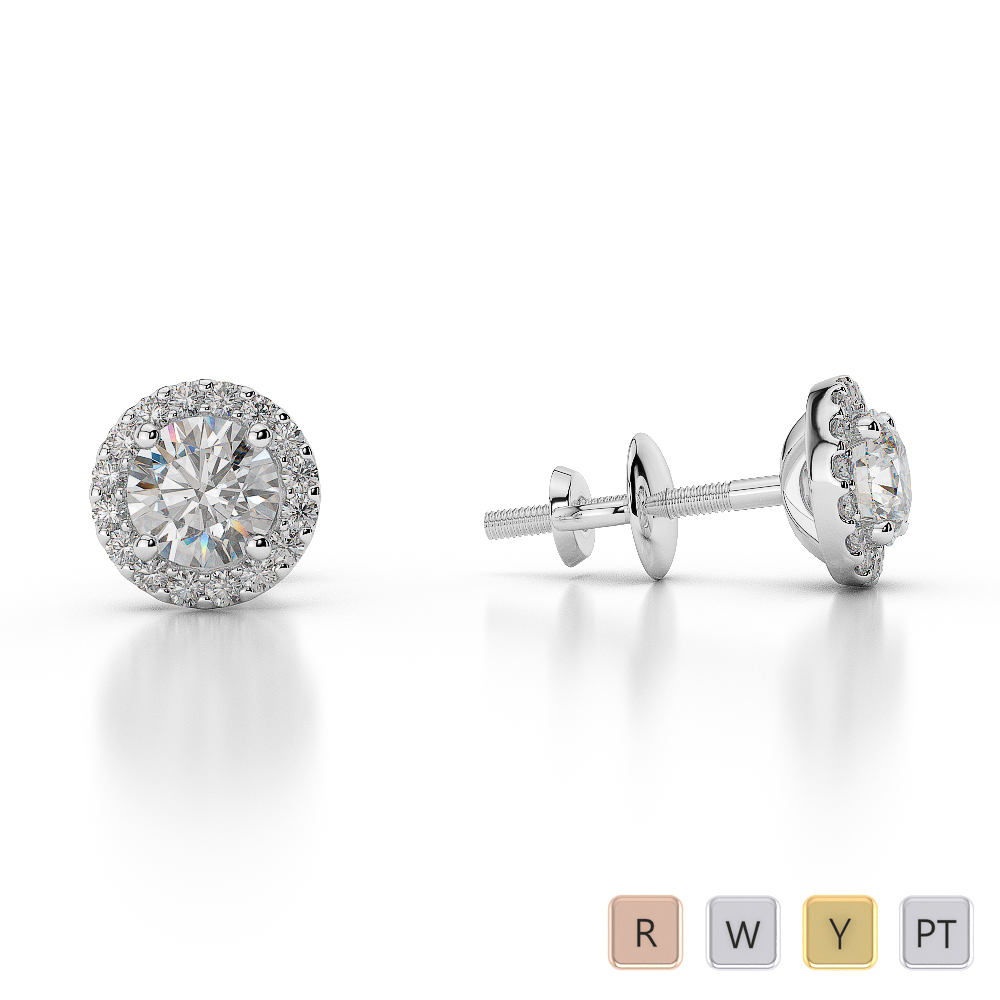 Gold / Platinum Diamond Halo Earrings AGER-1010