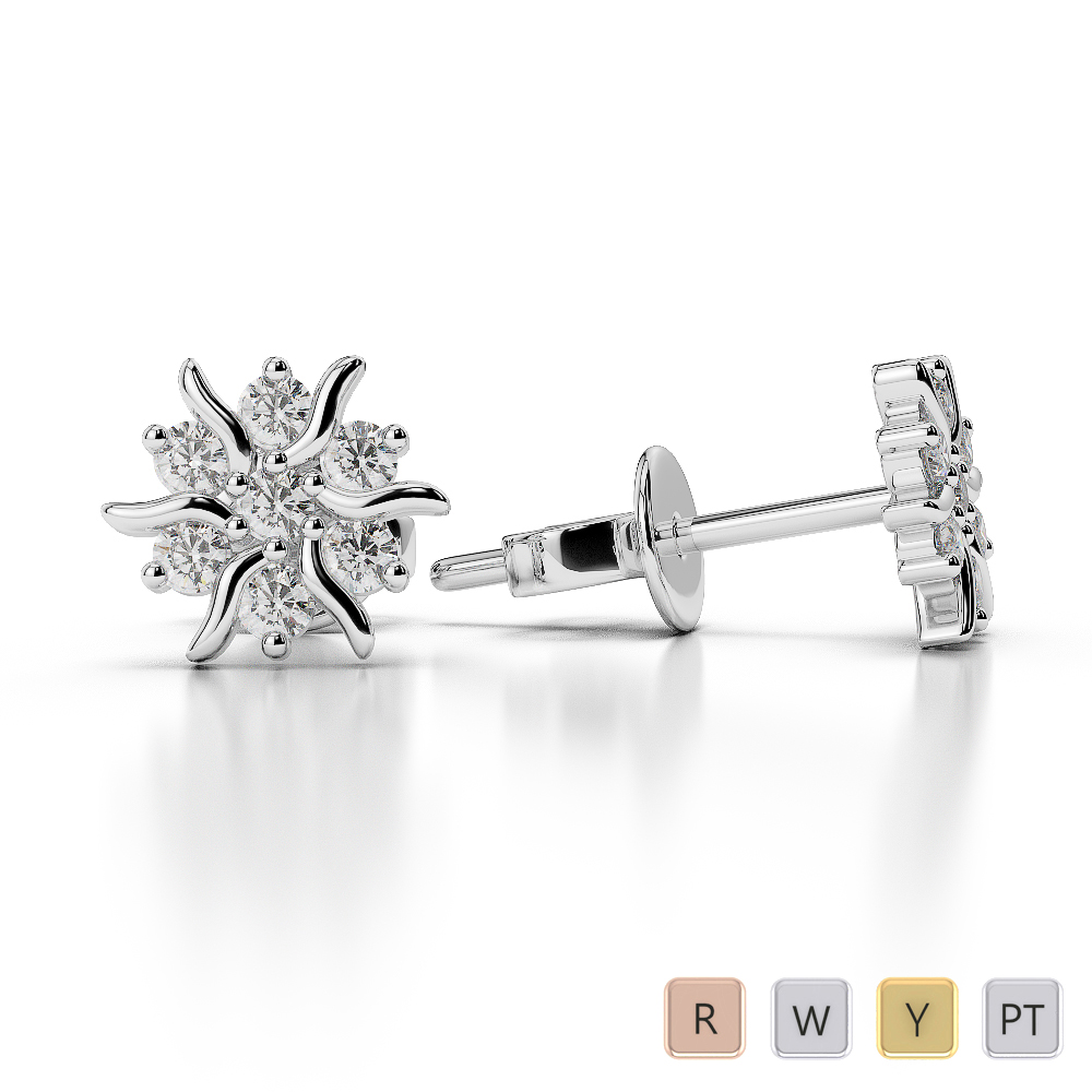 Gold / Platinum Diamond Cluster Earring AGER-1015