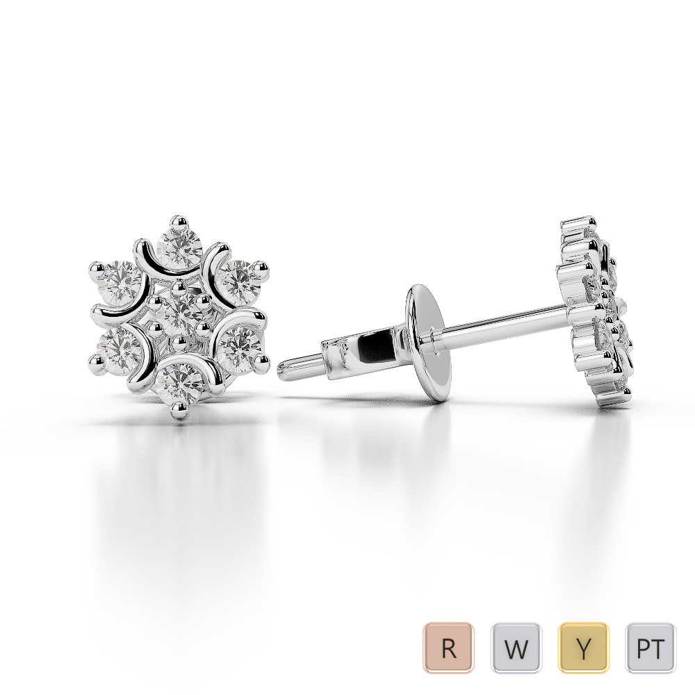 Gold / Platinum Diamond Cluster Earring AGER-1017