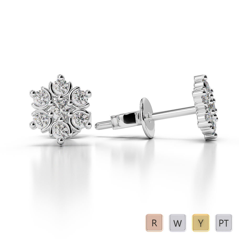 Gold / Platinum Diamond Cluster Earring AGER-1019