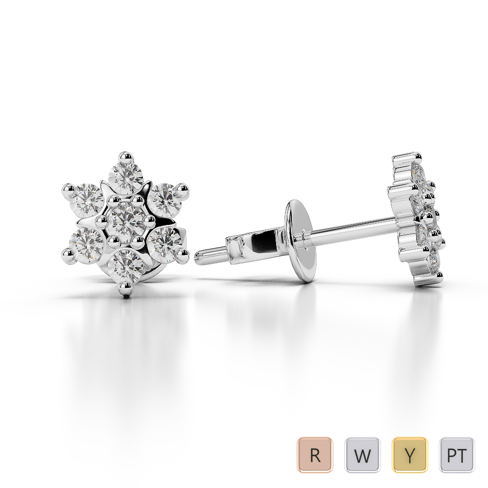 Gold / Platinum Diamond Cluster Earring AGER-1020