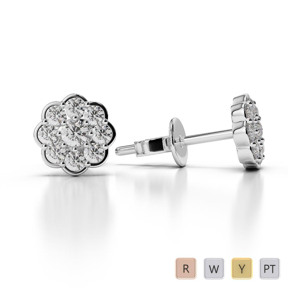 Gold / Platinum Diamond Cluster Earring AGER-1022