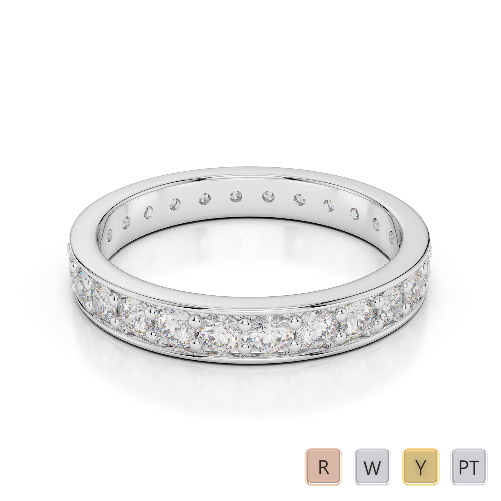 3 MM Gold / Platinum Diamond Full Eternity Ring AGDR-1080