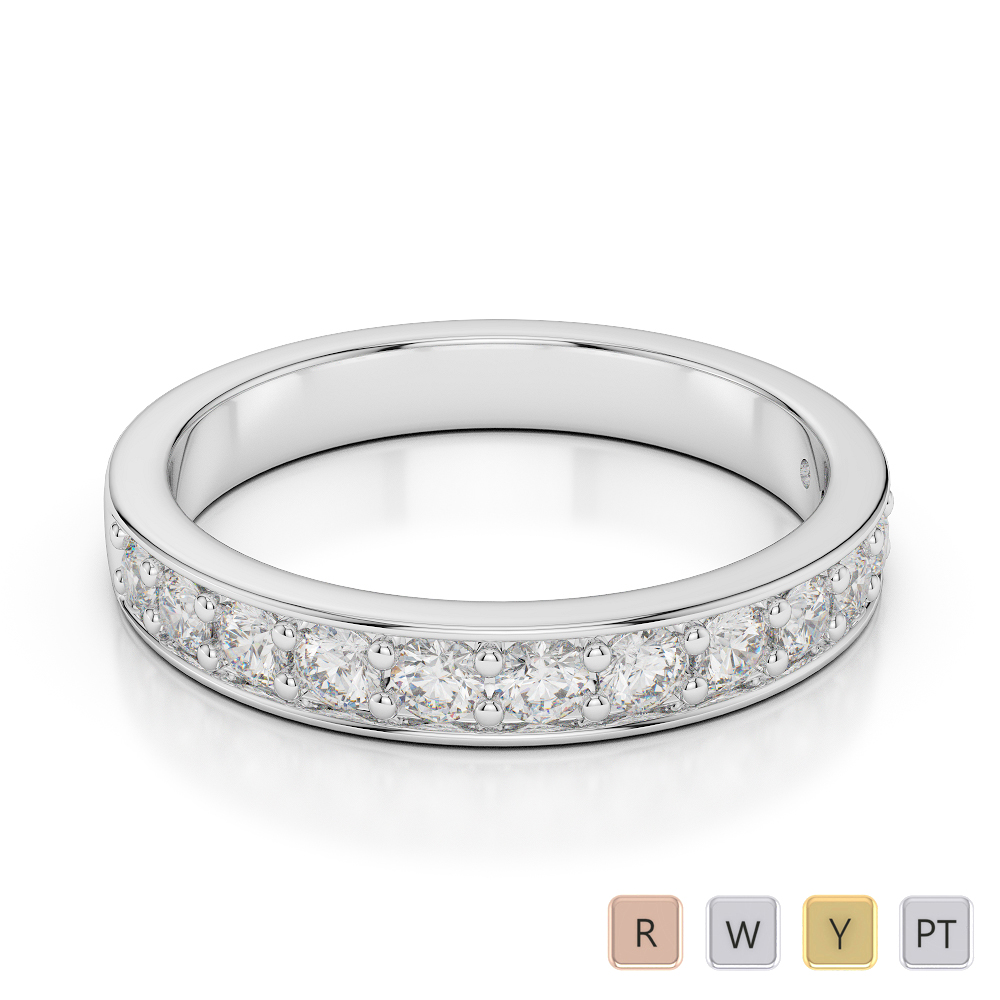 Gold / Platinum Diamond Half Eternity Ring AGDR-1084