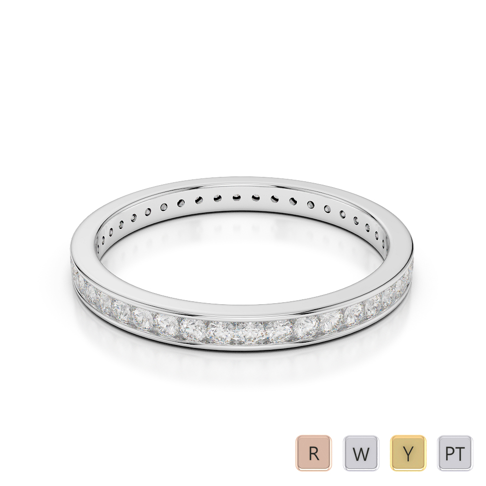 2.5MM Gold / Platinum Diamond Full Eternity Ring AGDR-1086