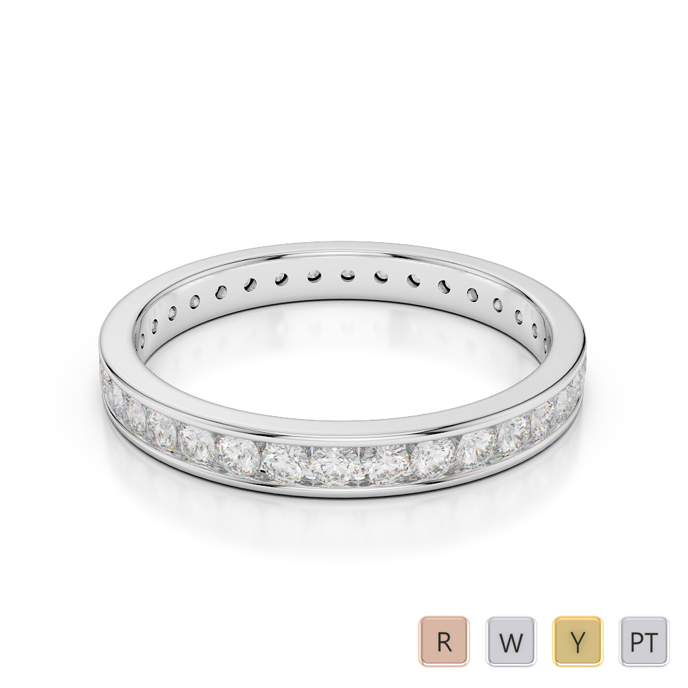 3 MM Gold / Platinum Diamond Full Eternity Ring AGDR-1087