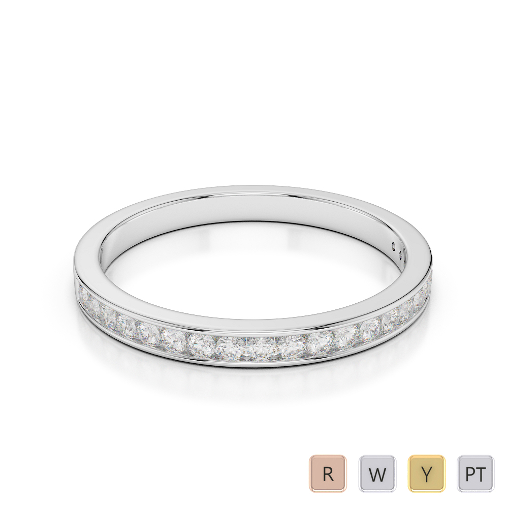 2.5 MM Gold / Platinum Diamond Half Eternity Ring AGDR-1089