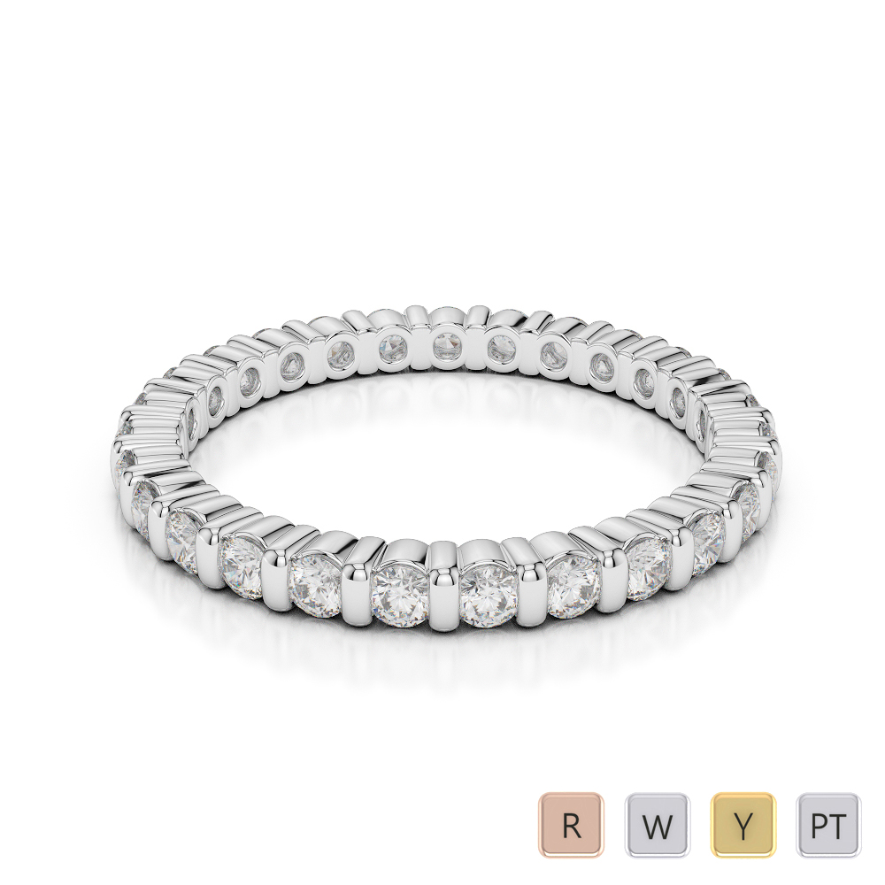 2 MM Gold / Platinum Diamond Full Eternity Ring AGDR-1092