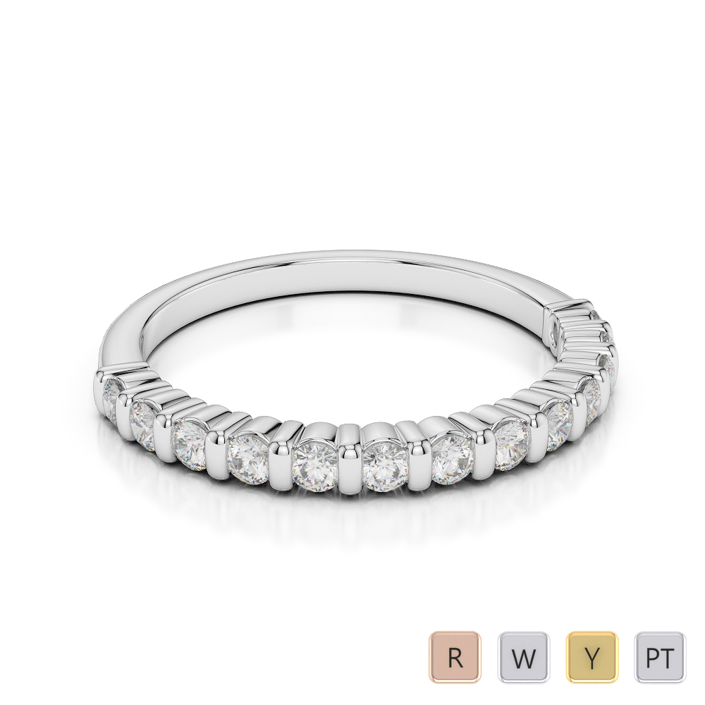 2 MM Gold / Platinum Diamond Half Eternity Ring AGDR-1095