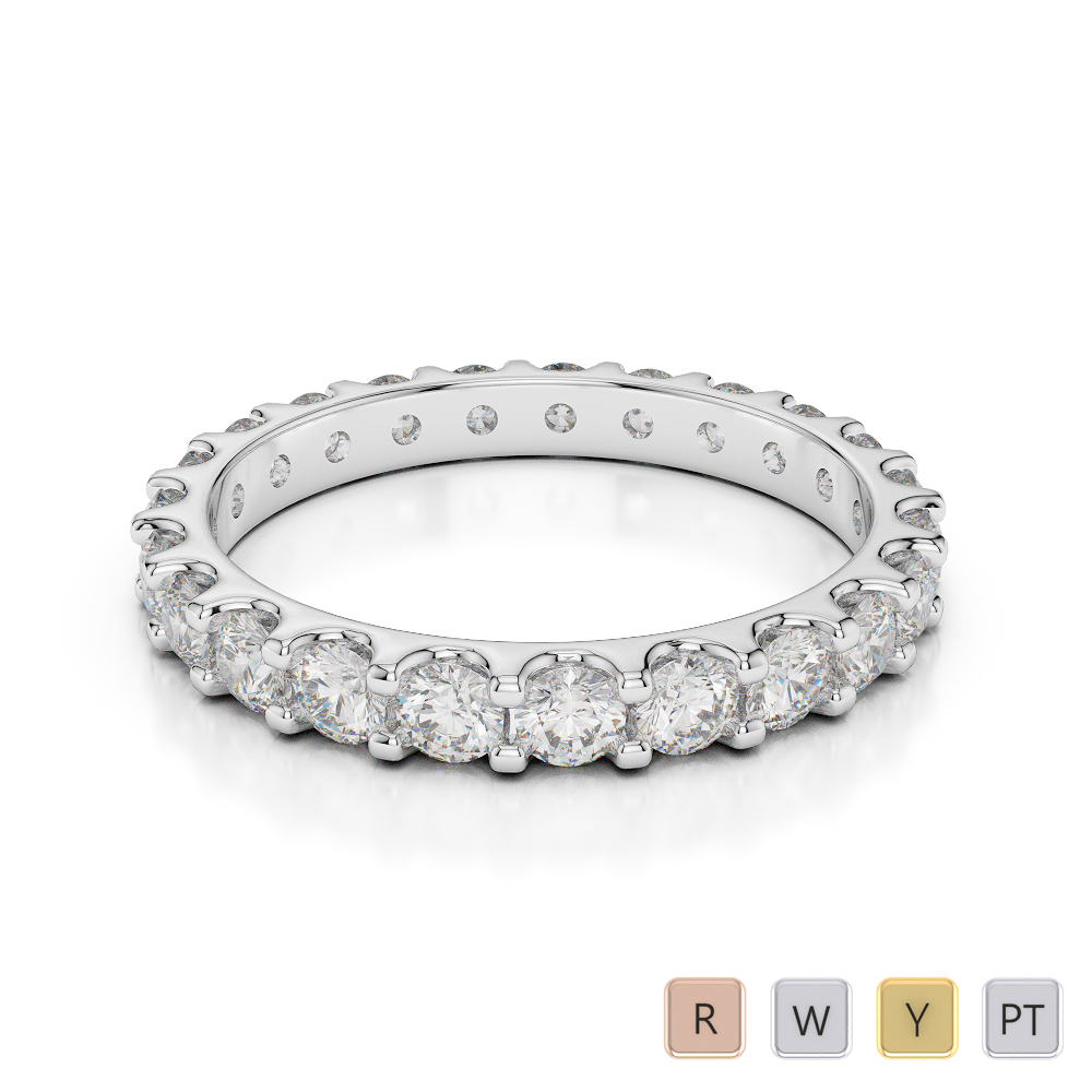 2.5 MM Gold / Platinum Diamond Full Eternity Ring AGDR-1105