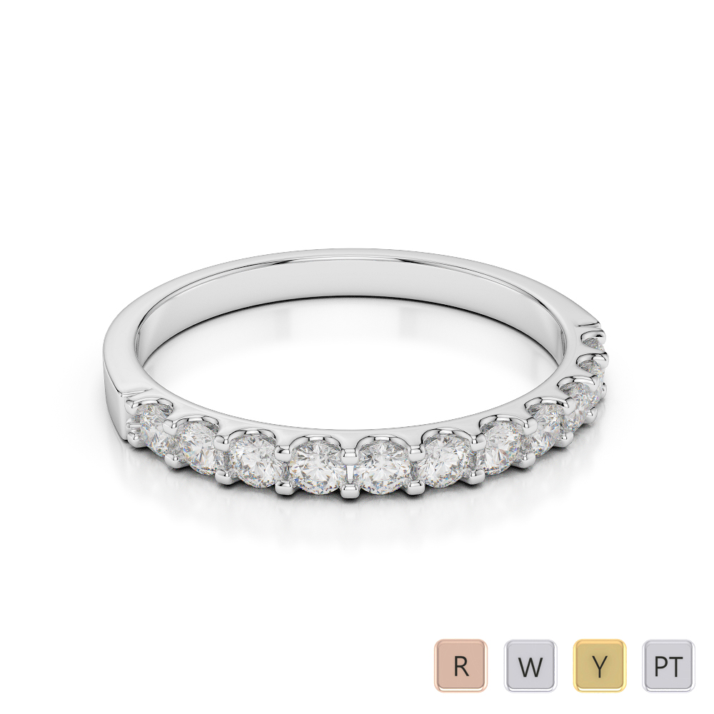 Gold / Platinum Diamond Half Eternity Ring AGDR-1107