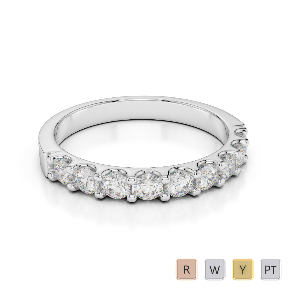 Gold / Platinum Diamond Half Eternity Ring AGDR-1108