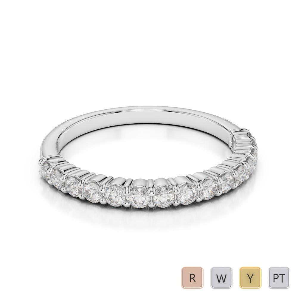 2 MM Gold / Platinum Diamond Half Eternity Ring AGDR-1113