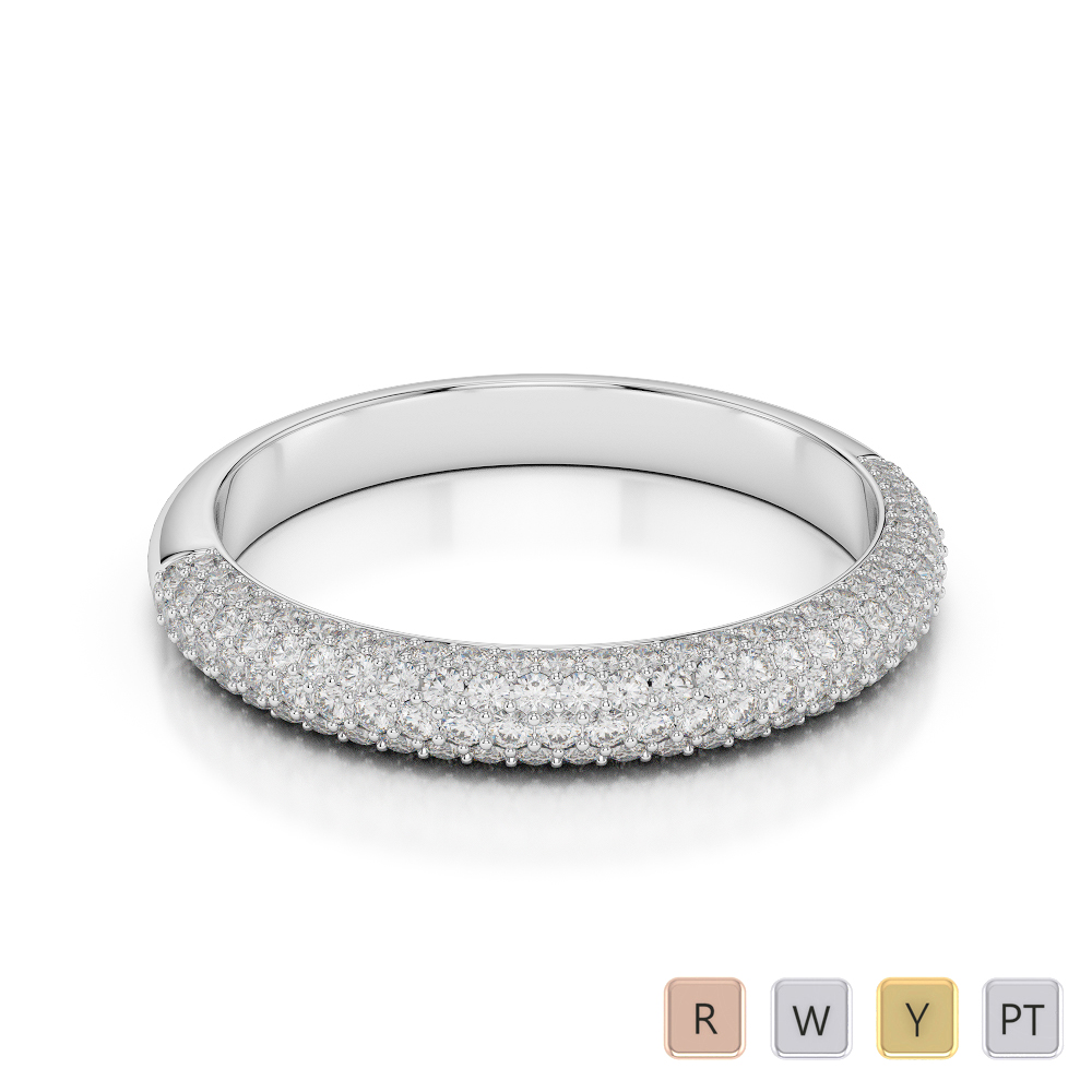 Gold / Platinum Diamond Half Eternity Ring AGDR-1117