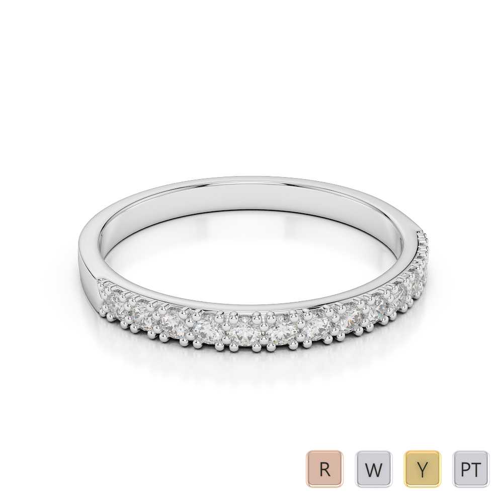 Gold / Platinum Diamond Half Eternity Ring AGDR-1129