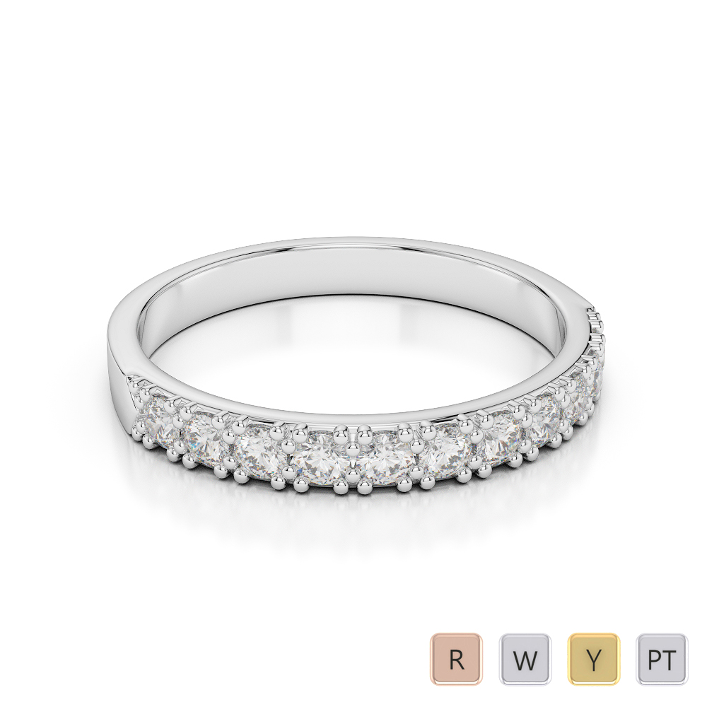 3 MM Gold / Platinum Diamond Half Eternity Ring AGDR-1130