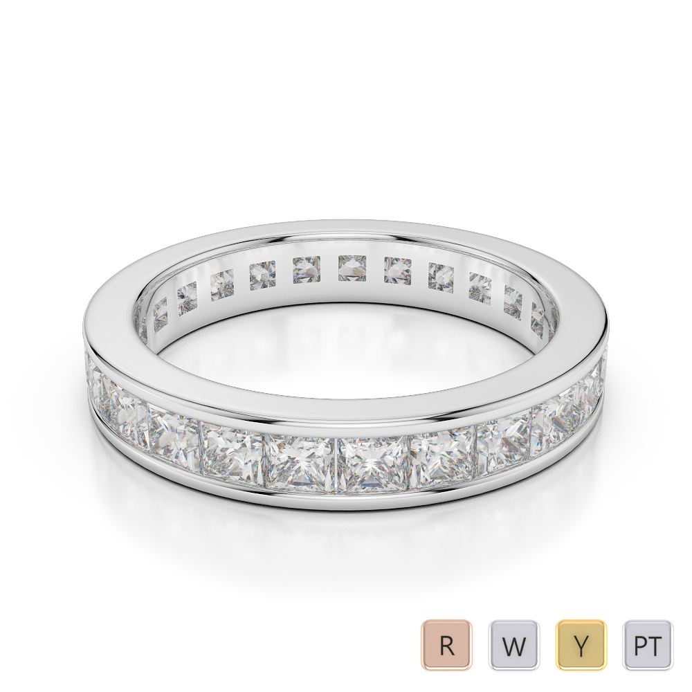 4 MM Gold / Platinum Diamond Full Eternity Ring AGDR-1134