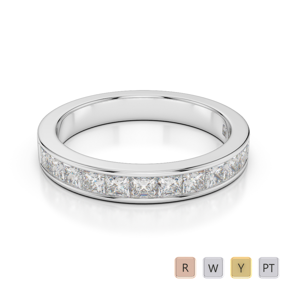 3 MM Gold / Platinum Diamond Half Eternity Ring AGDR-1136