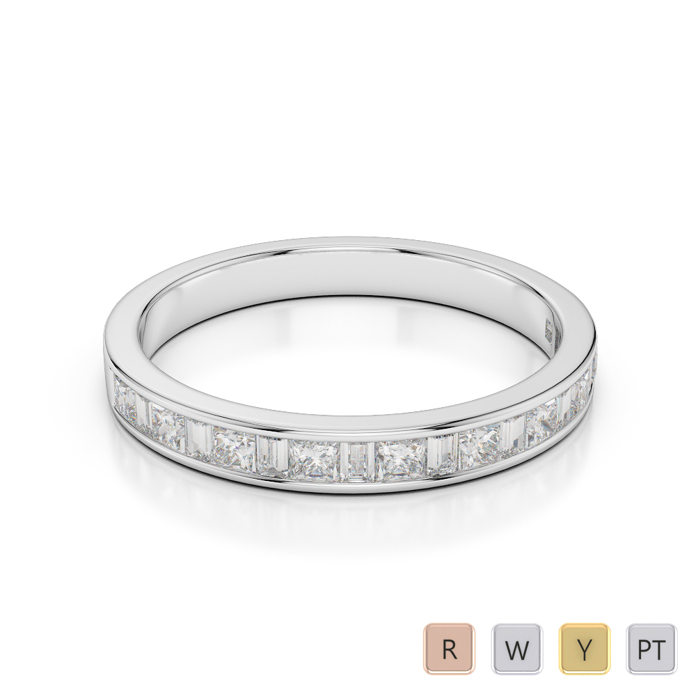 Gold / Platinum Diamond Half Eternity Ring AGDR-1142