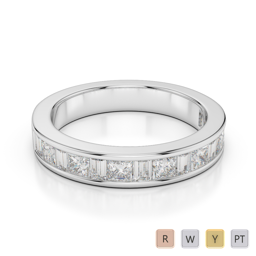 4 MM Gold / Platinum Diamond Half Eternity Ring AGDR-1143