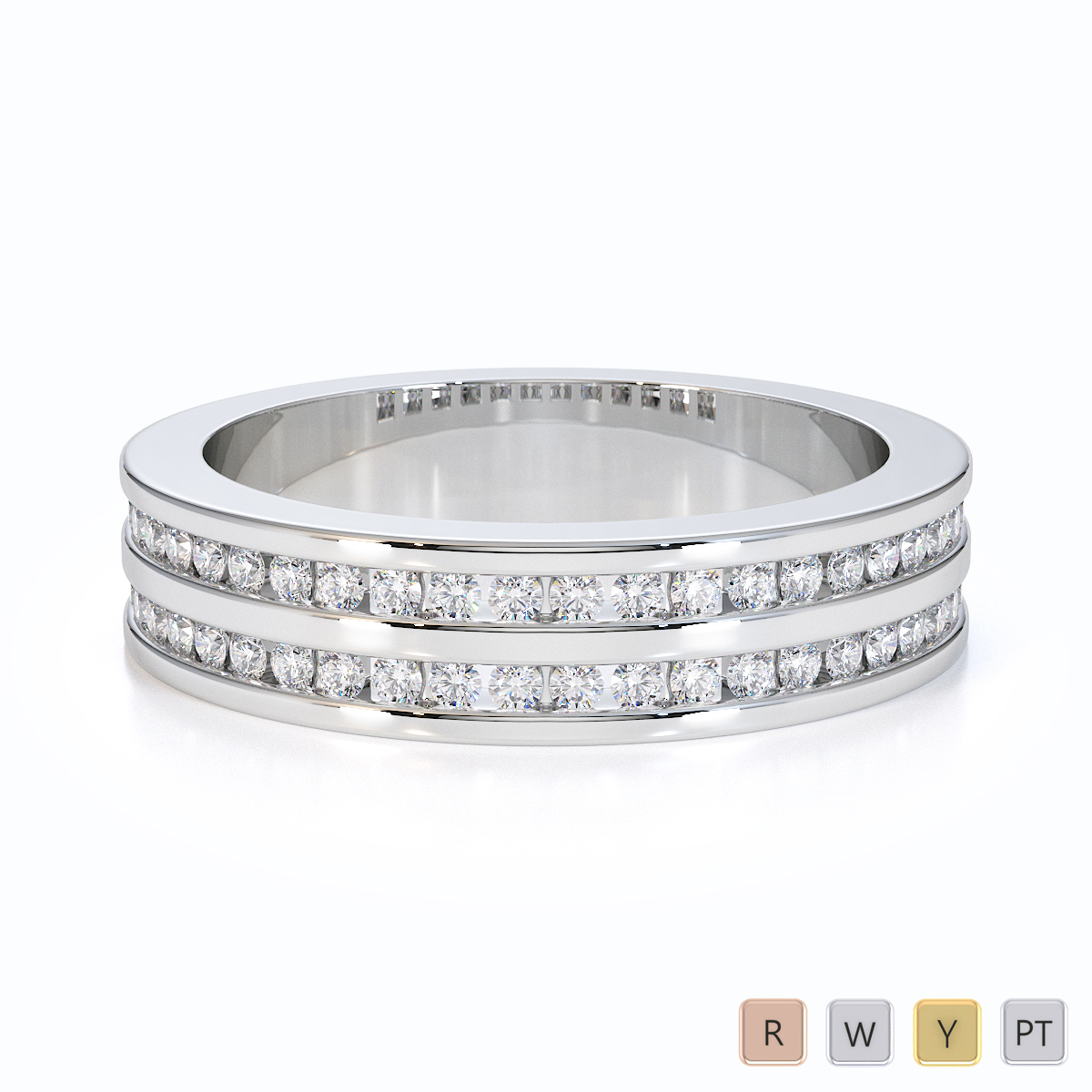 Gold / Platinum Diamond Half Eternity Ring RZ1503