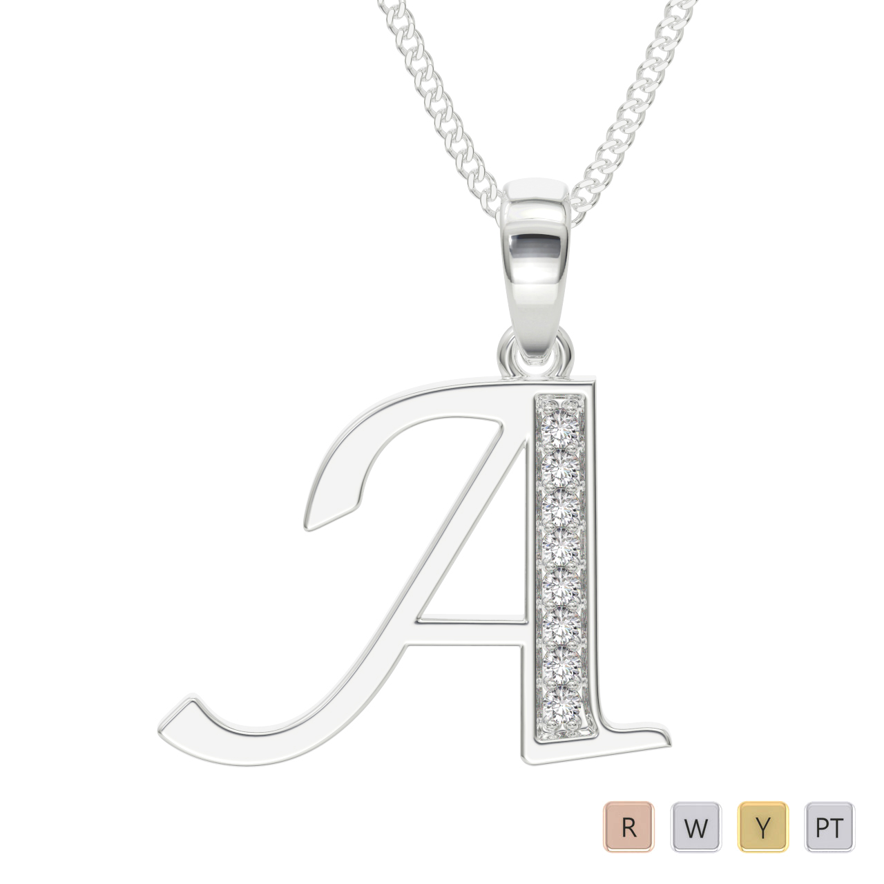 18 KT White Gold Diamond Initial Necklace PZ2298