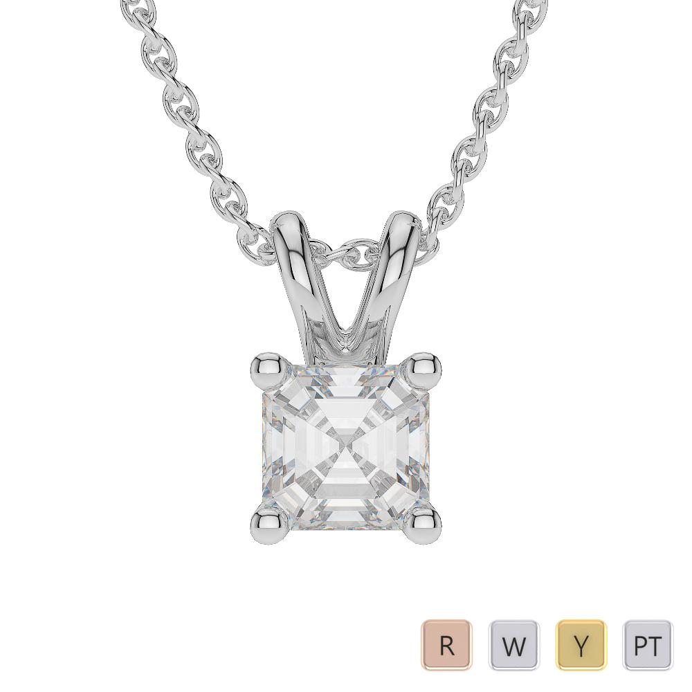 Gold / Platinum Asscher Shape Diamond Solitaire Necklace AGDNC-1001