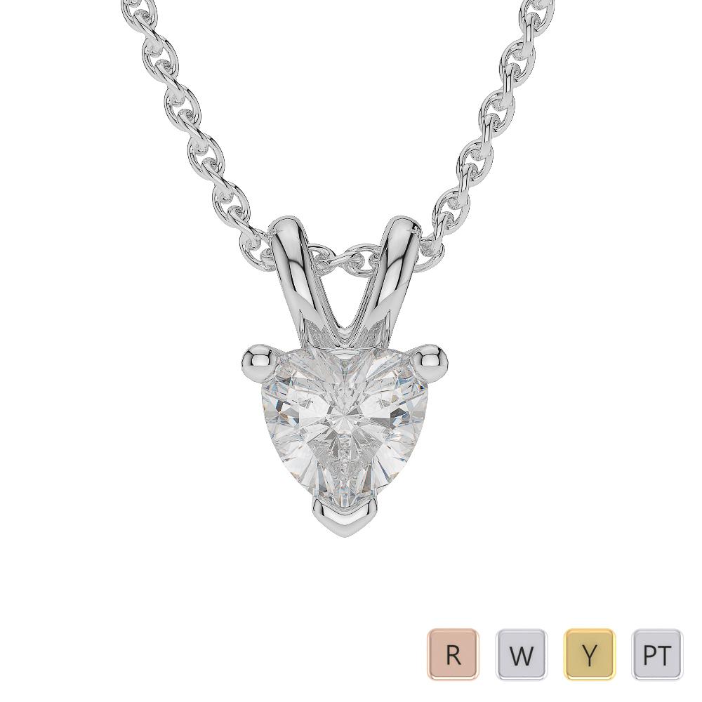 Gold / Platinum Heart Shape Diamond Solitaire Necklace AGDNC-1004