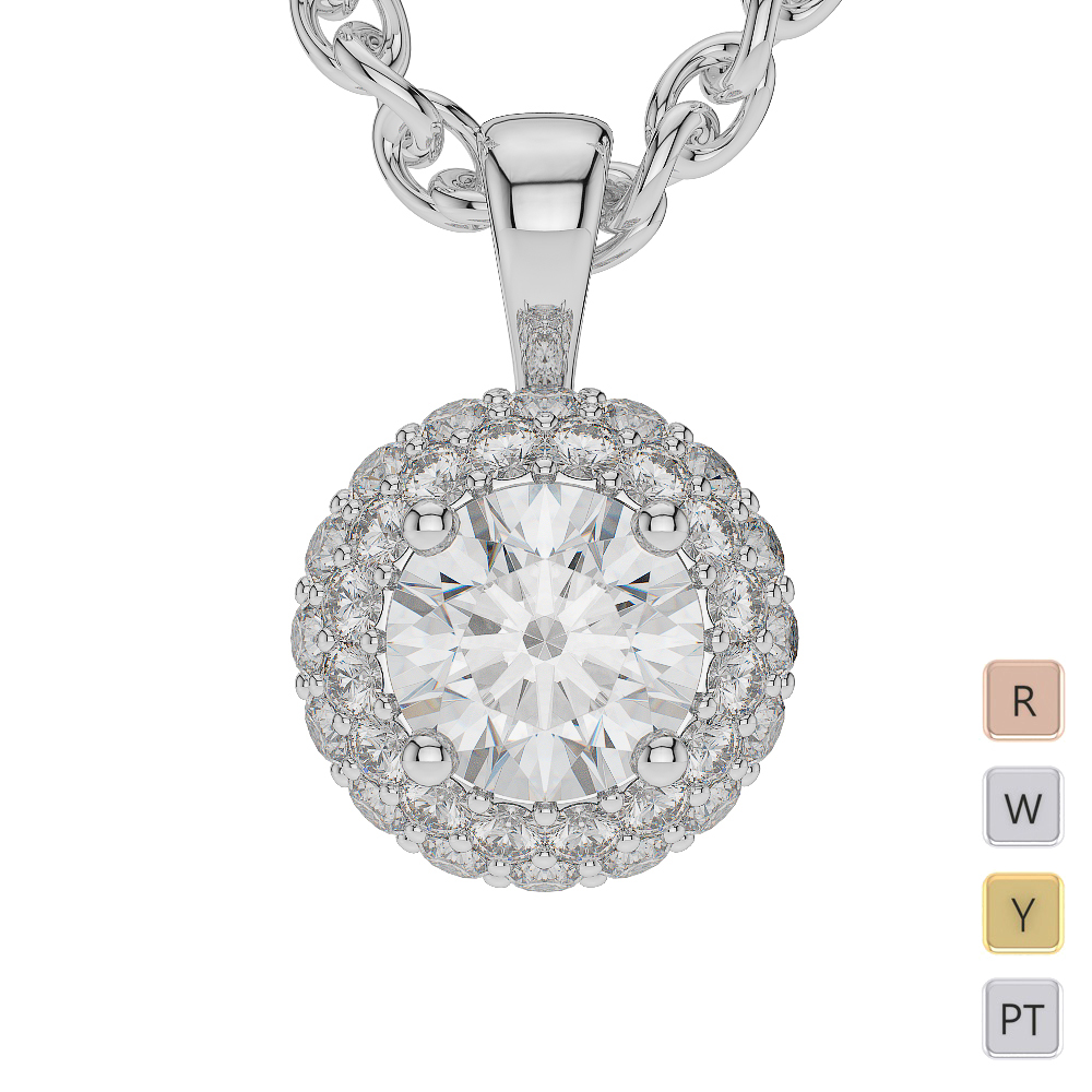 Gold / Platinum Diamond Halo Necklace AGDNC-1012