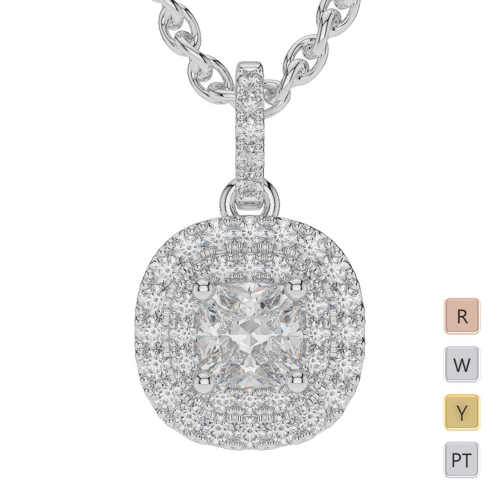 Gold / Platinum Diamond Halo Necklace AGDNC-1014