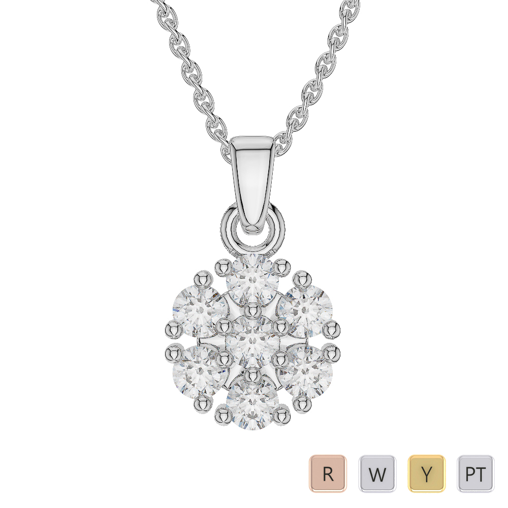 Gold / Platinum Diamond Cluster Necklace AGDNC-1016