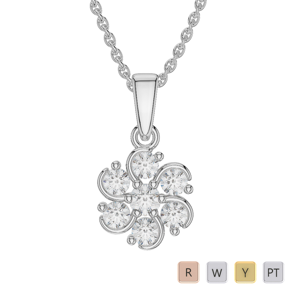 Gold / Platinum Diamond Cluster Necklace AGDNC-1018