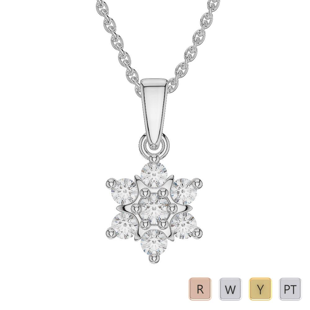 Gold / Platinum Diamond Cluster Necklace AGDNC-1020