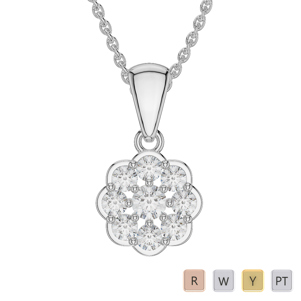 Gold / Platinum Diamond Cluster Necklace AGDNC-1022