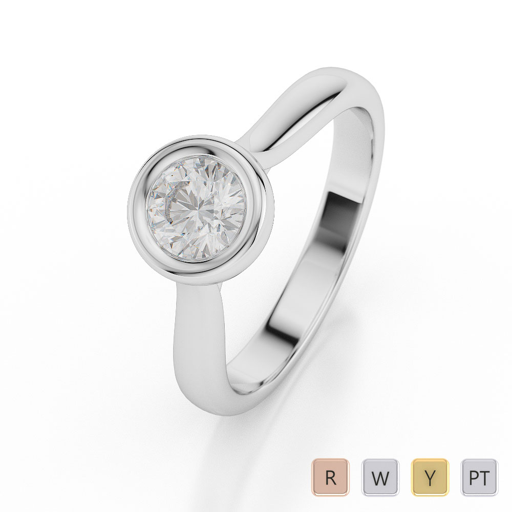 Gold / Platinum Round Shape Diamond Solitaire Ring AGDR-1010