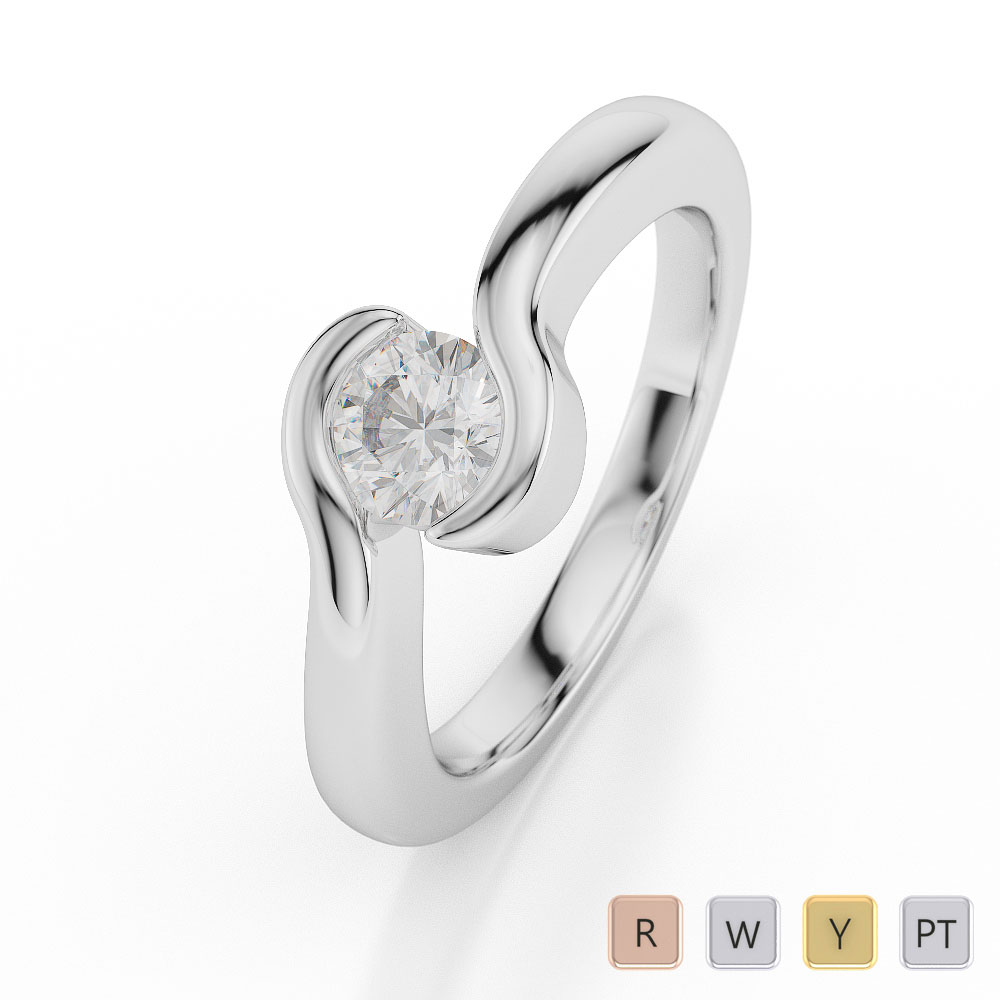 Gold / Platinum Round Shape Diamond Solitaire Ring AGDR-1014