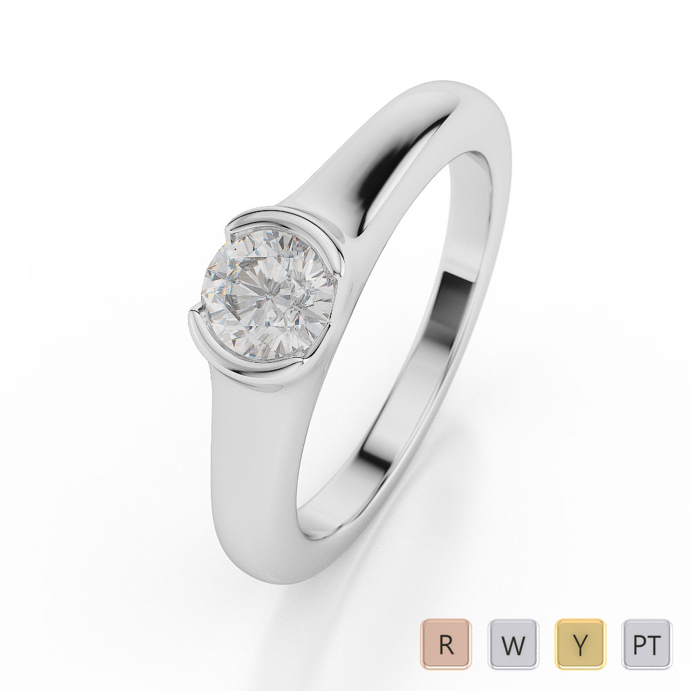 Gold / Platinum Round Shape Diamond Solitaire Ring AGDR-1015
