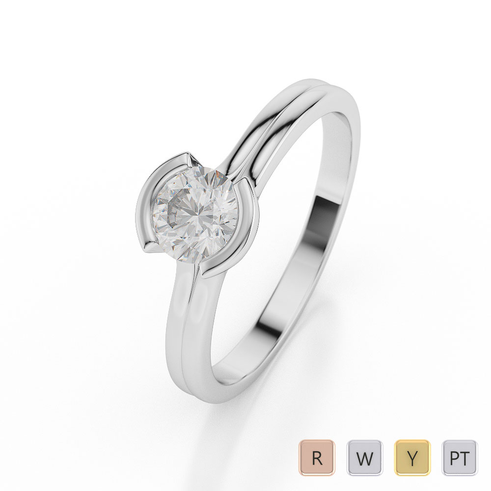 Gold / Platinum Round Shape Diamond Solitaire Ring AGDR-1016