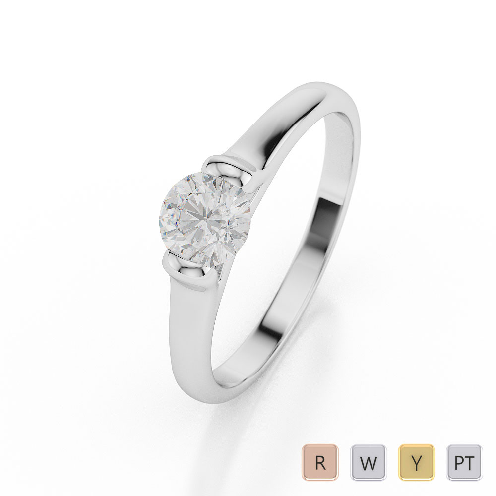 Gold / Platinum Round Shape Diamond Solitaire Ring AGDR-1017