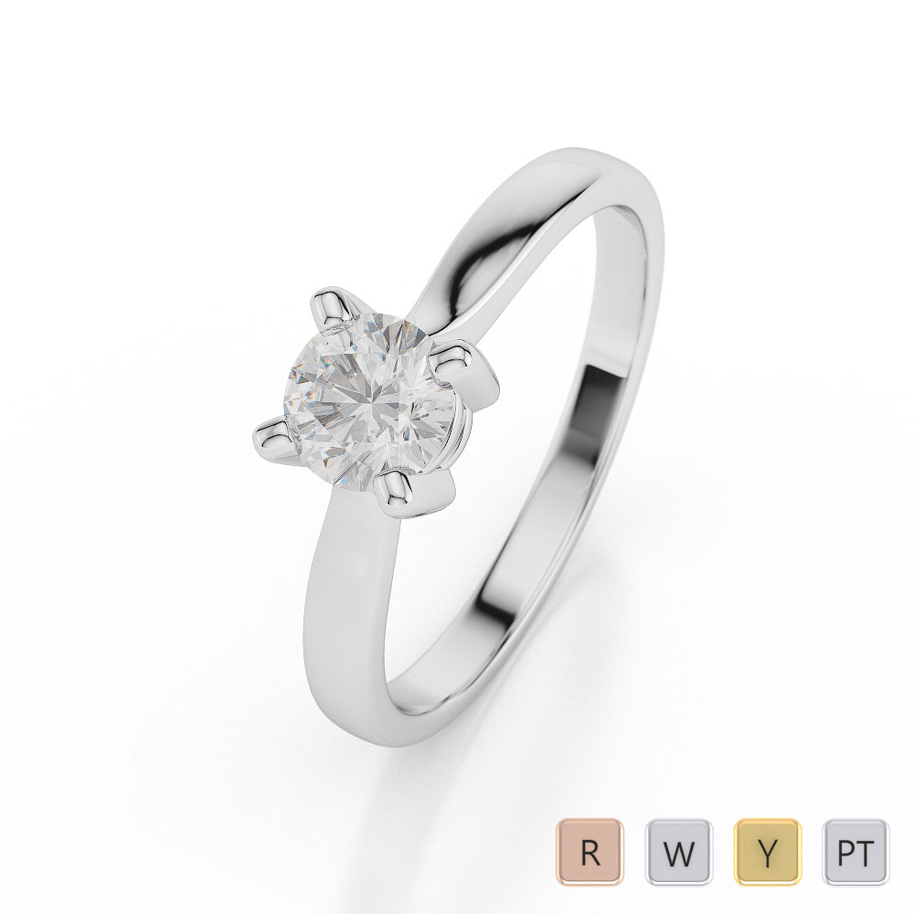 Gold / Platinum Round Shape Diamond Solitaire Ring AGDR-1020