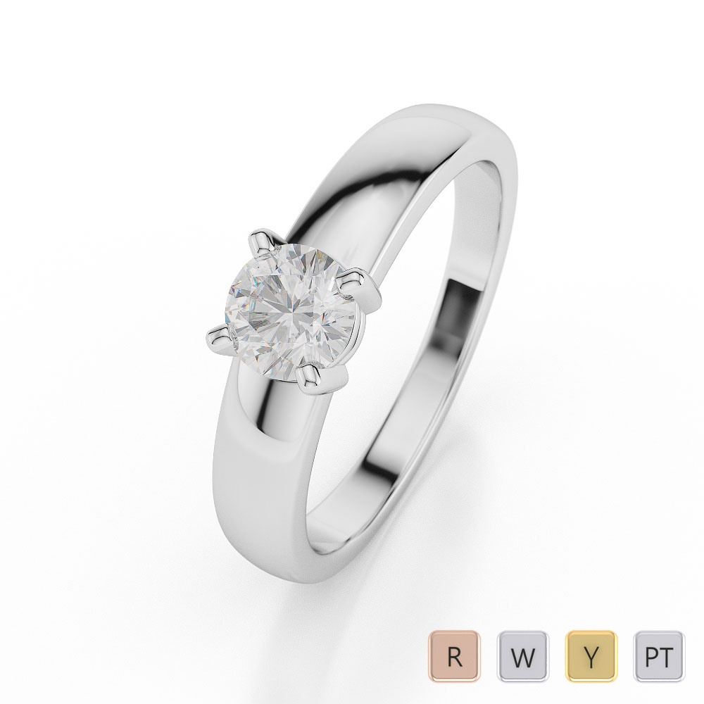 Gold / Platinum Round Shape Diamond Solitaire Ring AGDR-1021