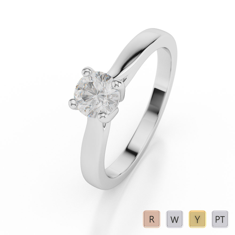 Gold / Platinum Round Shape Diamond Solitaire Ring AGDR-1022
