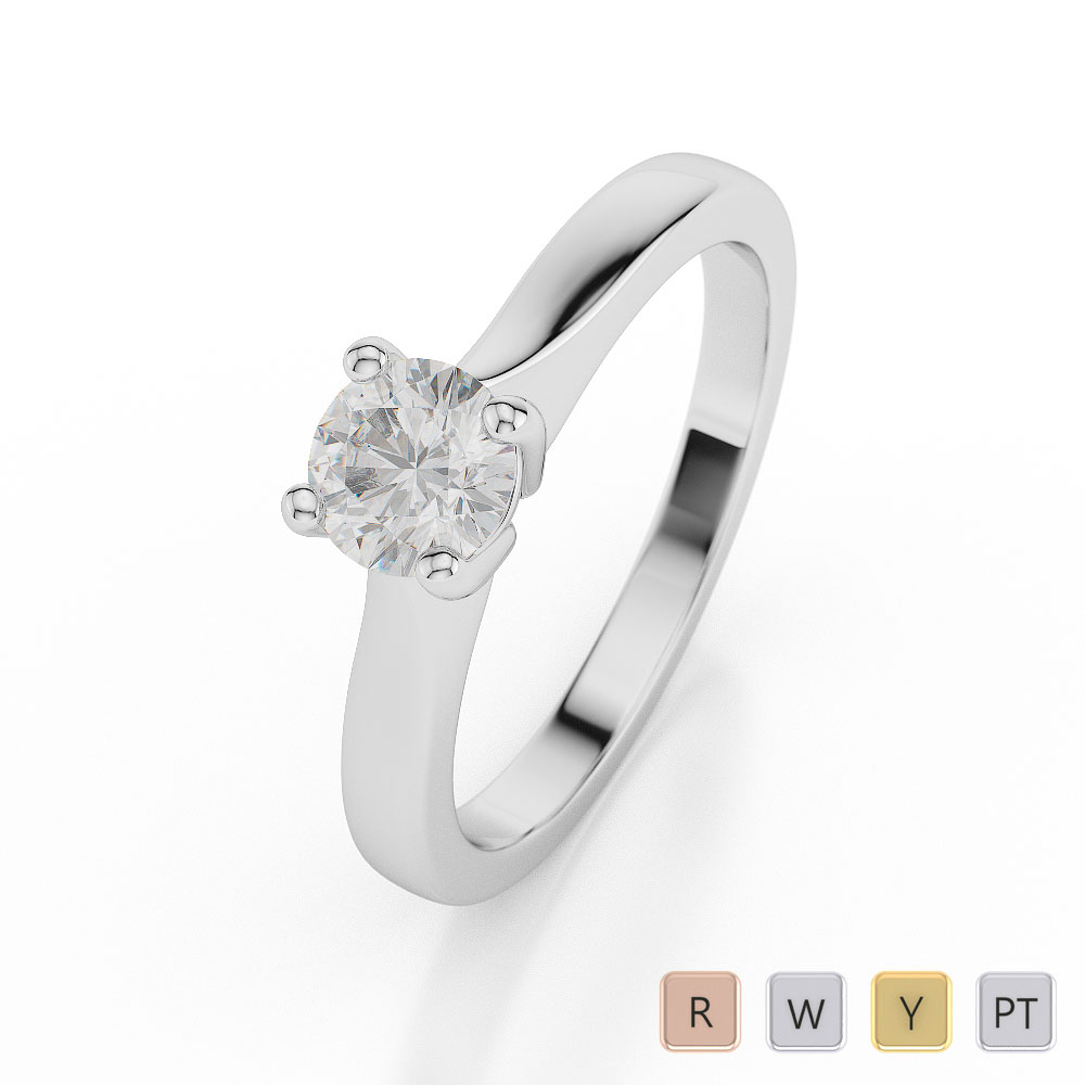 Gold / Platinum Round Shape Diamond Solitaire Ring AGDR-1023