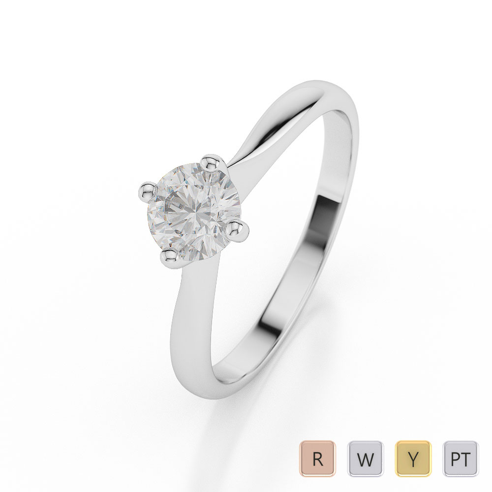 Gold / Platinum Round Shape Diamond Solitaire Ring AGDR-1024